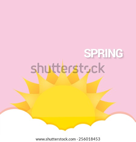 beautiful summer or spring illustrations . vector summer label. summer icon with sun and clouds.