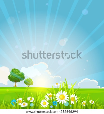 Beautiful summer sunrise with green grass, summer flowers and trees. - stock vector