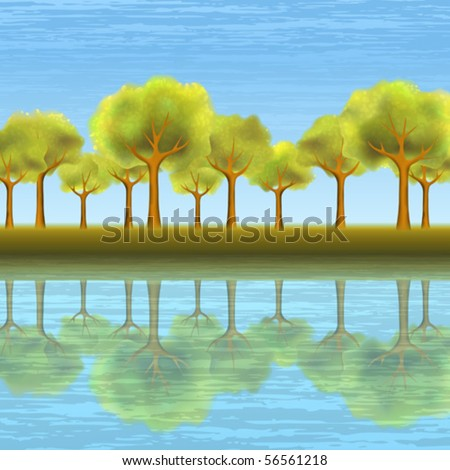 Beautiful summer tree alley reflecting in clear blue water (AI-optimized EPS 8 file, other landscapes are in my gallery)