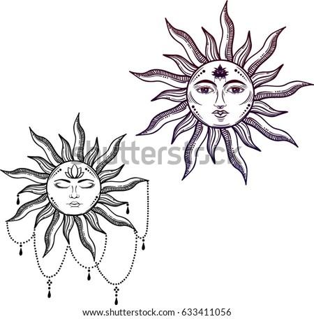 beautiful sun face symbol tattoo design vector stock