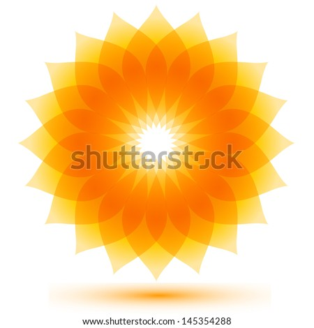 beautiful sunflower icon, abstract natural flower background - stock vector