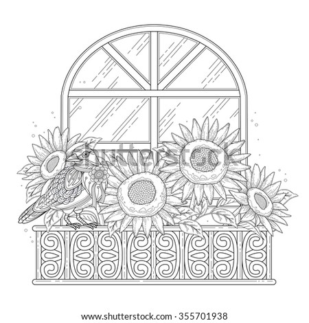 beautiful sunflowers coloring page with floral elements in exquisite line - stock vector