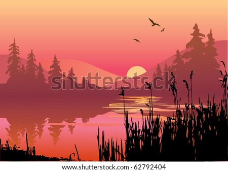 Beautiful sunset on the river. Vector art-illustration. - stock vector