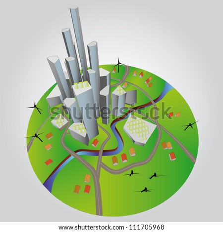 beautiful super modern sustainable city view development unit cityscape vector illustration