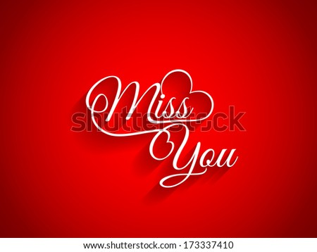 Beautiful text design of Miss You on red color background. - stock vector