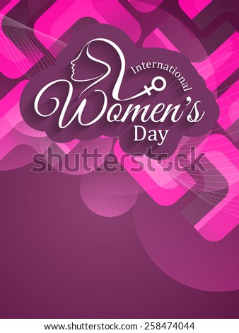 Beautiful text design of Women's day on modern purple color background. - stock vector