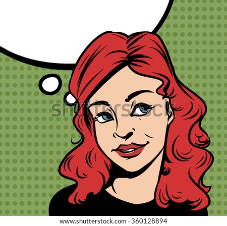 Beautiful thoughtful woman and blank thought bubble with copyspace. Vector retro comic style illustration. - stock vector