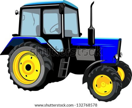 Beautiful tractor isolated on a white background - stock vector