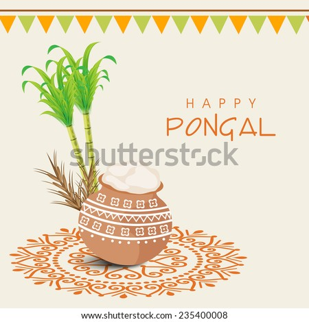 Beautiful traditional mud pot with rice, sugarcane, wheat grain and bunting decoration for South Indian harvesting festival, Happy Pongal celebrations. - stock vector