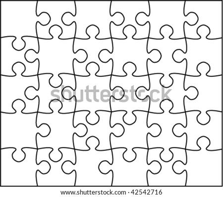 Beautiful transparent jigsaw puzzle vector 5x6 - stock vector