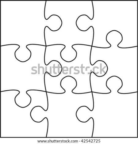 Beautiful transparent jigsaw puzzle vector 3x3 - stock vector