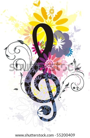 Beautiful Treble Clef - stock vector