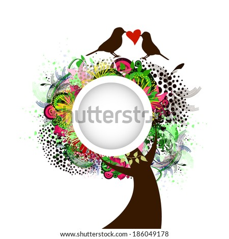 Beautiful tree with flowers, birds with love message. round white frame. Vector - stock vector