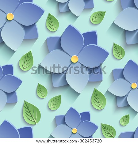 Beautiful trendy nature background seamless pattern with blue stylized summer 3d flowers violets and green leaves. Floral stylish modern wallpaper. Greeting or invitation card. Vector illustration - stock vector