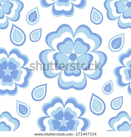 Beautiful trendy nature background seamless pattern with stylized blue, white sakura blossom, japanese cherry tree and leaves. Floral modern wallpaper. Greeting or invitation card with flowers, vector - stock vector