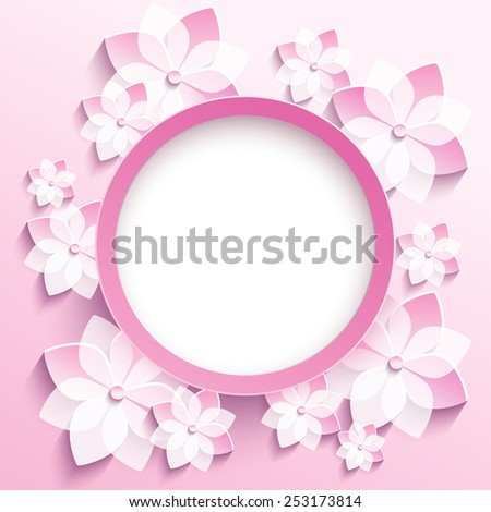 Beautiful trendy round frame with 3d white-pink flowers sakura - japanese cherry tree. Greeting or invitation card with stylized blossoming sakura. Stylish modern background. Vector illustration - stock vector