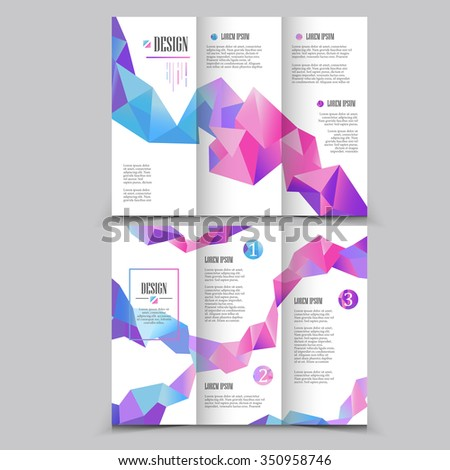 Beautiful Trifold Brochure Template Design Crystal Stock Vector - Beautiful brochure templates