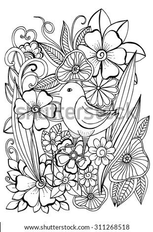 Beautiful tropical bird in magical garden for coloring book - stock vector