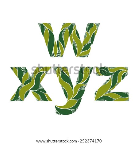 Beautiful typescript with natural spring pattern created from green leaves. Flowery alphabet, calligraphic ornamental lowercase letters. - stock vector