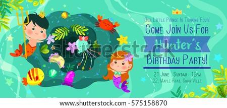 Beautiful under sea birthday invitation card stock vector 575158870 beautiful under the sea birthday invitation card with cute merman and mermaid filmwisefo