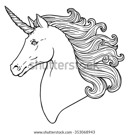 Coloring Pages Unicorn Head : Unicorn head stock images royalty free & vectors