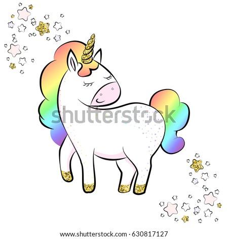 Cartoon Rainbow Unicorn Stock Images Royalty Free Images