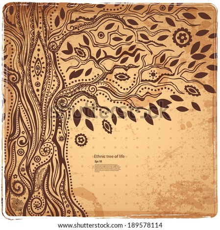 Beautiful Unique ethnic tree of life illustration - stock vector