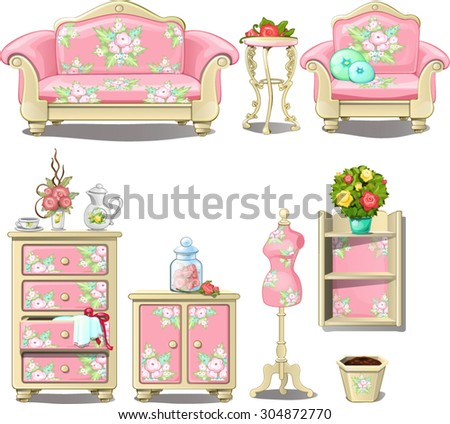 beautiful upholstered furniture pink color in the room a little girl. Interior, design, vector. - stock vector