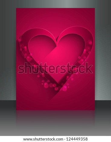 Beautiful Valentine's Day brochure reflection card vector