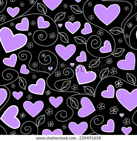 Beautiful valentine vector seamless pattern with violet hearts - stock vector
