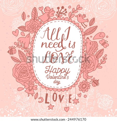 Beautiful Valentines day card in vintage style. Delightful wedding invitation with a lot of romantic elements: flowers, animals, butterflies, hearts and others in vector - stock vector