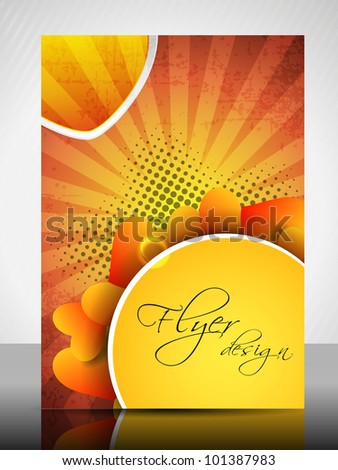Beautiful Valentines Day flyer, banner or cover design with heart shapes and text space on dotted rays background in orange and yellow color. EPS 10, vector illustration.