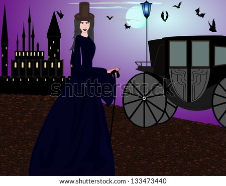 Beautiful vampire woman near the castle at the evening street - stock vector