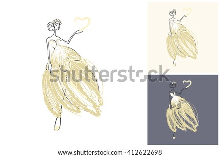Beautiful vector attractive fashion wedding bride. Hand drawn graphic bride. Artistic fashion, style, beauty element. Isolated element on white, gray background - stock vector
