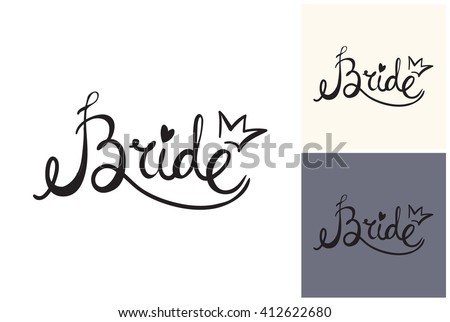 Beautiful vector attractive fashion wedding bride sign. Hand drawn graphic bride sign. Artistic fashion, style, beauty element. Isolated element on white, gray background - stock vector