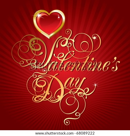 beautiful vector background on Valentine's Day with golden hearts