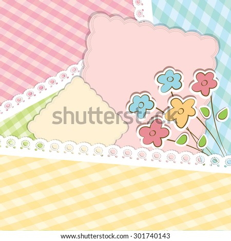Beautiful vector background with lace and flower stickers.