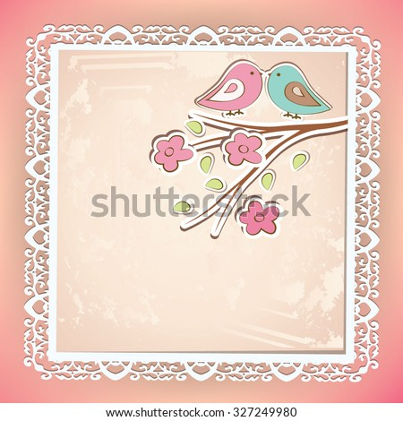 Beautiful vector background with lace and flower stickers. - stock vector