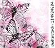 Beautiful vector background with pink butterflies and flowers - stock vector