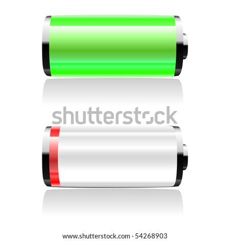 Beautiful vector batteries. Can be used for web-sites, in different interfaces, laptops, etc.