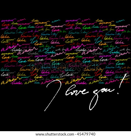 beautiful vector calligraphic background for valentine's day greeting card - stock vector