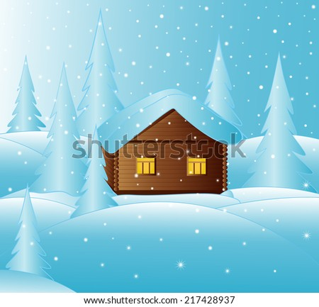 Beautiful vector christmas background with little house in the snowy winter forest