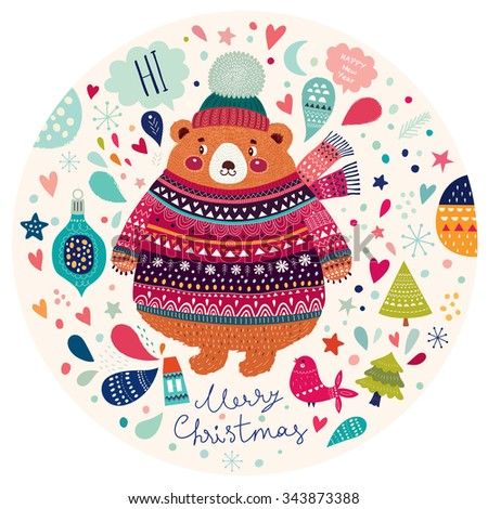 Beautiful vector Christmas illustration with cute Bear. Merry Christmas card. Stylish illustration - stock vector