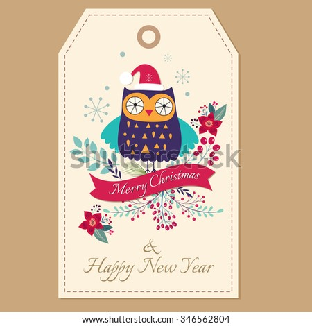 Beautiful vector Christmas illustration with cute owl - stock vector