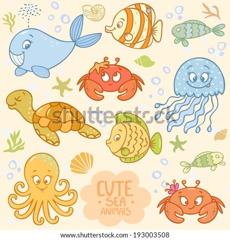 Beautiful vector collection with cute cartoon marine animals - stock vector
