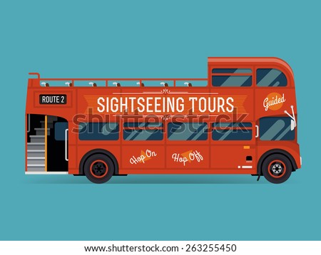 Beautiful vector double decker red sightseeing city tour bus, flat design. Touristic city visiting vehicle retro bus with open top, side view isolated - stock vector