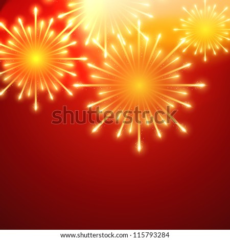 beautiful vector fireworks on red background - stock vector