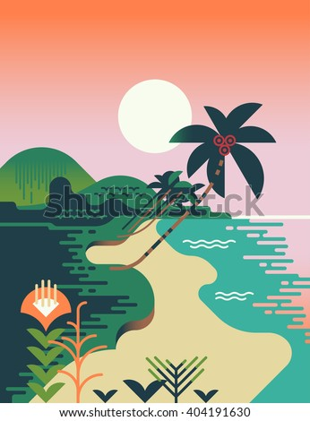 Beautiful vector flat design illustration on tropical sand beach landscape with palms, mountains and sun. Summer travel destination abstract background - stock vector