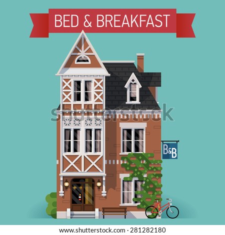 Beautiful vector flat design lodging and overnight accommodation web icon with cozy detailed bed and breakfast house in classic design - stock vector