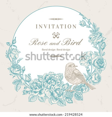 Beautiful vector frame with roses and birds in vintage style. Wedding design. Blue floral wreath on a gray background. - stock vector